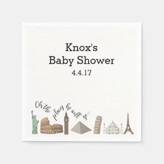Travel Themed Napkins- Baby Shower Ideas Disposable Serviette