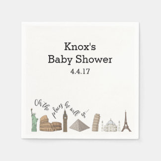 Travel Themed Napkins- Baby Shower Ideas Paper Serviettes