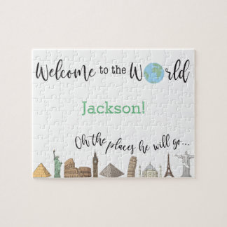 Travel Themed Puzzle- Baby Shower Gift Idea Jigsaw Puzzle