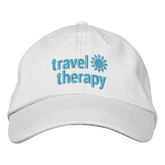 Travel Therapy Embroidered Hat White & Blue