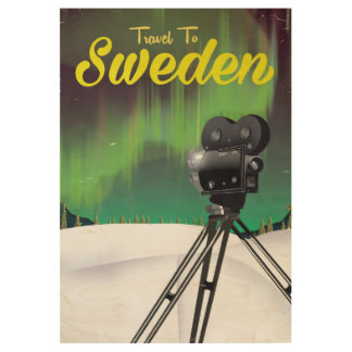 Travel to Sweden Northern lights Camera poster. Wood Poster