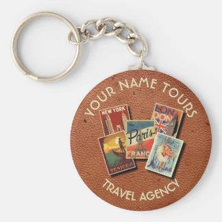 Travel Tours Agency Vintage Postcards Custom Name Basic Round Button Key Ring
