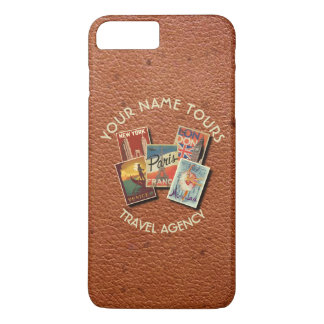 Travel Tours Agency Vintage Postcards Custom Name iPhone 7 Plus Case