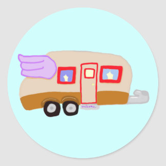 Travel Trailer With Wings Classic Round Sticker