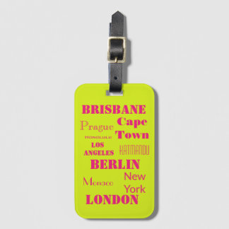 Travel wish list in lime green and pink luggage tag
