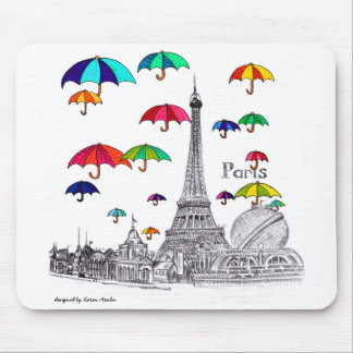 Travel with Umbrellas Paris Effiel Tower Mouse Pad
