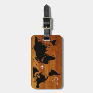 travel wood world-map custom luggage tag