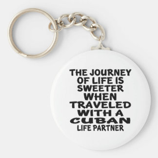 Traveled With A Cuban Life Partner Basic Round Button Key Ring