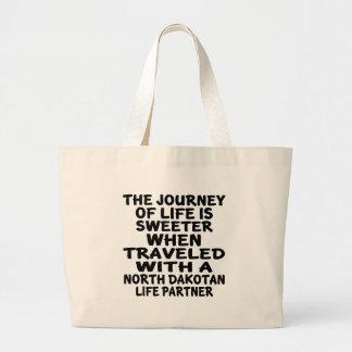 Traveled With A North Dakotan Life Partner Large Tote Bag