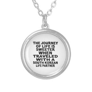 Traveled With A South Korean Life Partner Silver Plated Necklace