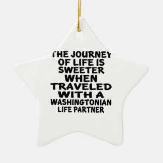 Traveled With A Washingtonian Life Partner Ceramic Ornament