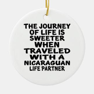 Traveled With An Nicaraguan Life Partner Round Ceramic Decoration