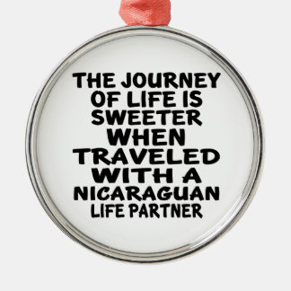 Traveled With An Nicaraguan Life Partner Silver-Colored Round Decoration