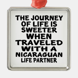 Traveled With An Nicaraguan Life Partner Silver-Colored Square Decoration