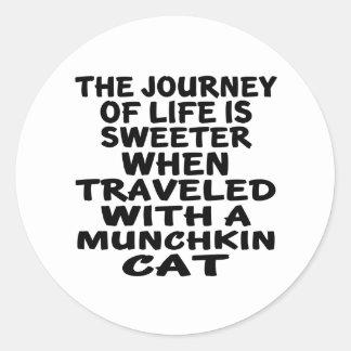 Traveled With Munchkin Cat Classic Round Sticker