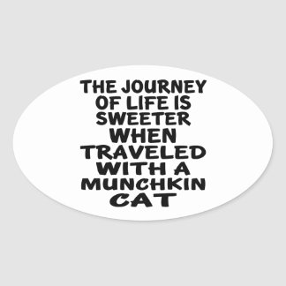 Traveled With Munchkin Cat Oval Sticker