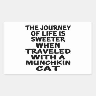 Traveled With Munchkin Cat Rectangular Sticker