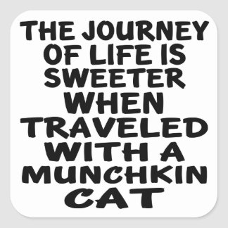 Traveled With Munchkin Cat Square Sticker