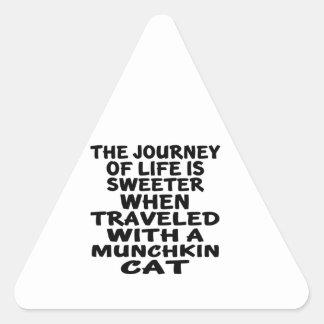 Traveled With Munchkin Cat Triangle Sticker