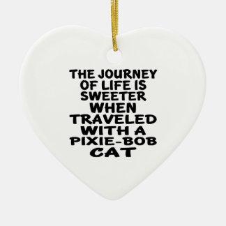 Traveled With Pixie-Bob Cat Ceramic Heart Decoration