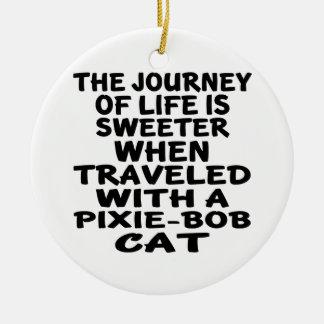 Traveled With Pixie-Bob Cat Round Ceramic Decoration
