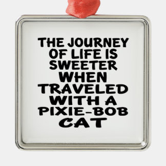 Traveled With Pixie-Bob Cat Silver-Colored Square Decoration