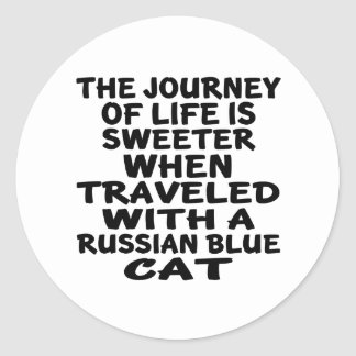Traveled With Russian Blue Cat Classic Round Sticker