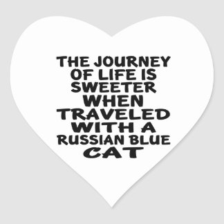 Traveled With Russian Blue Cat Heart Sticker