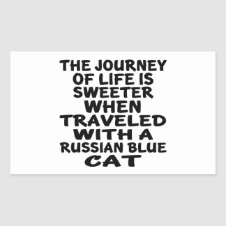 Traveled With Russian Blue Cat Rectangular Sticker