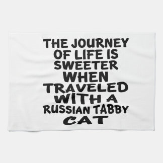 Traveled With Russian Tabby Cat Tea Towel