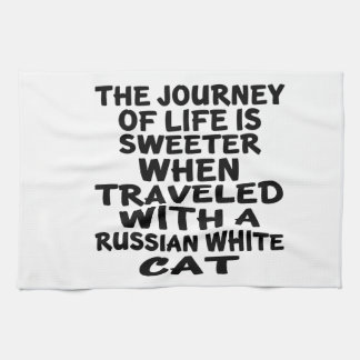 Traveled With Russian White Cat Tea Towel