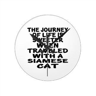 Traveled With Siamese Cat Round Clock