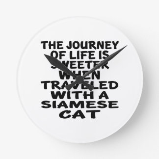Traveled With Siamese Cat Wallclocks