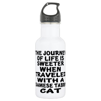 Traveled With Siamese tabby Cat 532 Ml Water Bottle