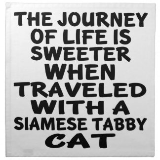 Traveled With Siamese tabby Cat Napkin