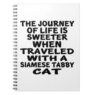 Traveled With Siamese tabby Cat Notebook