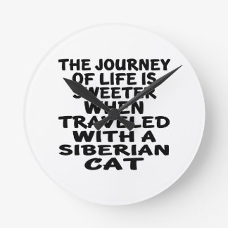 Traveled With Siberian Cat Round Clock