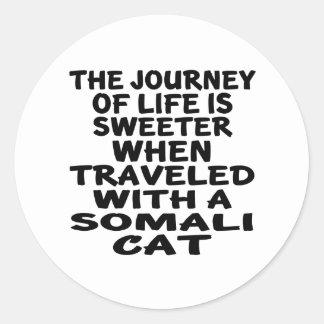 Traveled With Somali Cat Classic Round Sticker