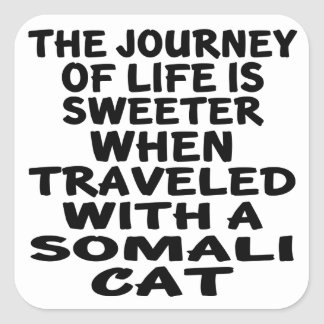 Traveled With Somali Cat Square Sticker
