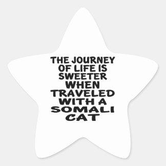 Traveled With Somali Cat Star Sticker