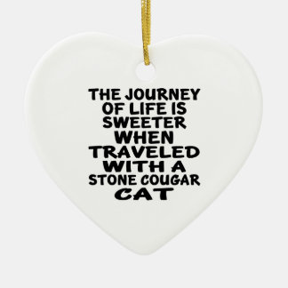 Traveled With Stone cougar Cat Ceramic Ornament