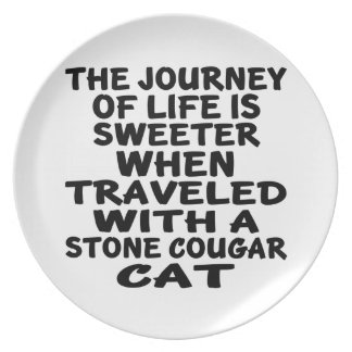 Traveled With Stone cougar Cat Plate