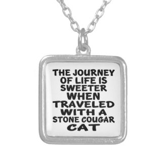 Traveled With Stone cougar Cat Silver Plated Necklace