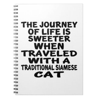 Traveled With Traditional Siamese Cat Notebook