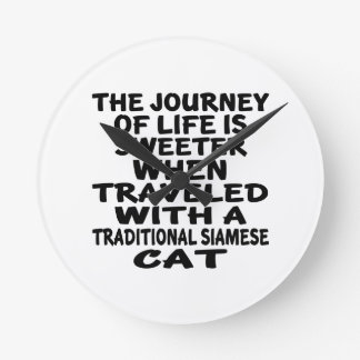 Traveled With Traditional Siamese Cat Round Clock