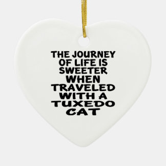Traveled With Tuxedo Cat Ceramic Ornament