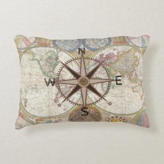 Traveler World Map Compass Rose Decorative Cushion