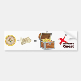 Traveler's Quest: Navigator + Map = Treasure Car Bumper Sticker
