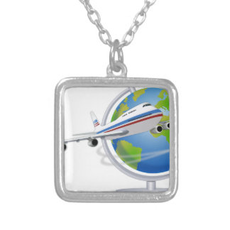 Traveling around the Globe Silver Plated Necklace
