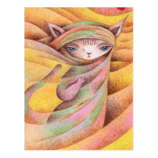 Traveling cat postcard